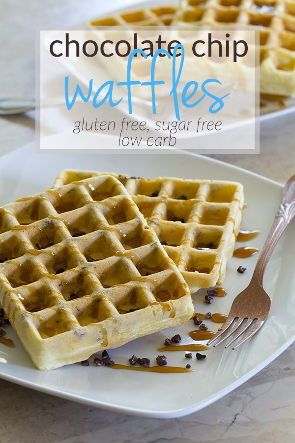 These healthy chocolate chip waffles can be ready using just 5 ingredients! They're completely sugar & gluten free and make a perfect low carb breakfast!