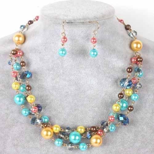 2c9c0dae9b4c Set Collar Y Aretes Perla Y Cristal Bisuteria Fina Mayoreo -   125.00 en Mercado  Libre