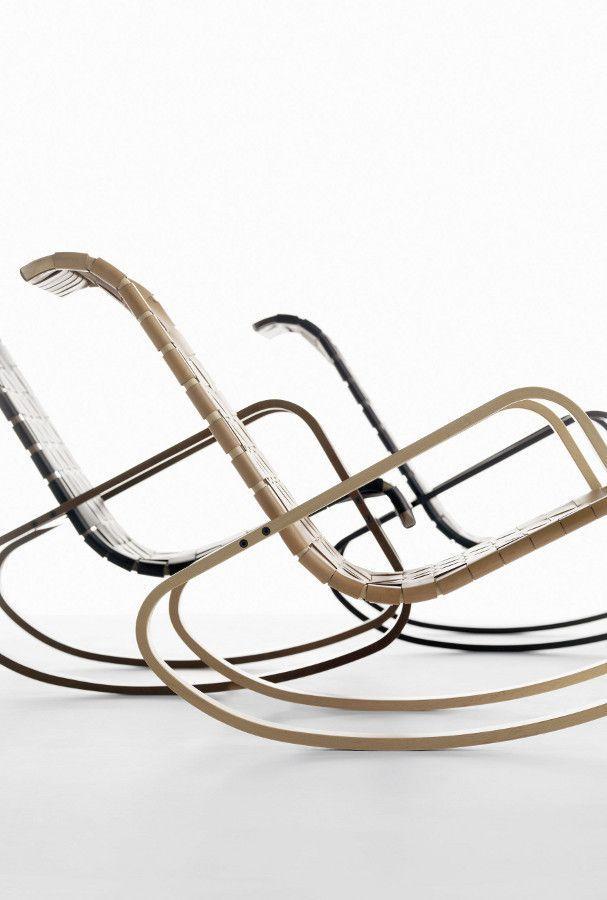 Rocking tanned leather easy #chair with armrests DONDOLO by Crassevig | #design Luigi Crassevig @Crassevig Chairs