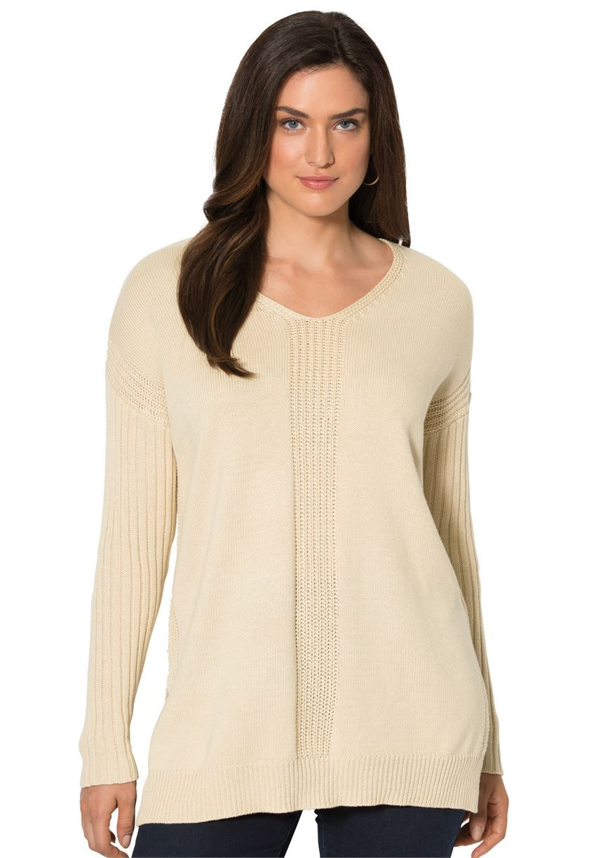Mixed Stitch V-Neck Sweater Tunic | Tops & Sweaters | Jessica ...