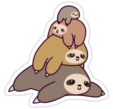 A cute design or illustration of an adorable stack or sloths great as stickers and