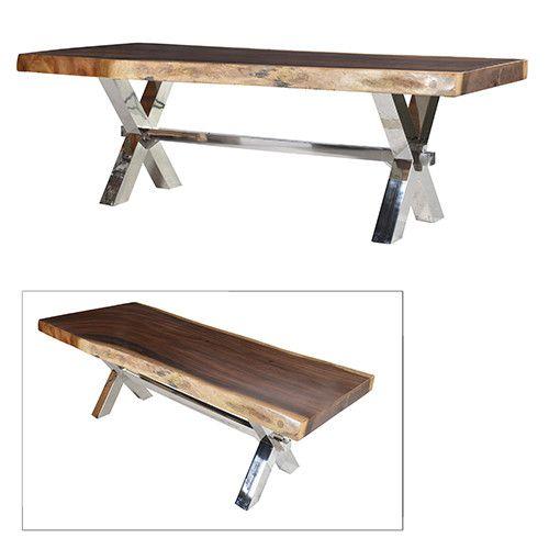 Lexington Chunky Chrome Coffee Table: Large Wood Slab Dining Table With Chunky Chrome Legs
