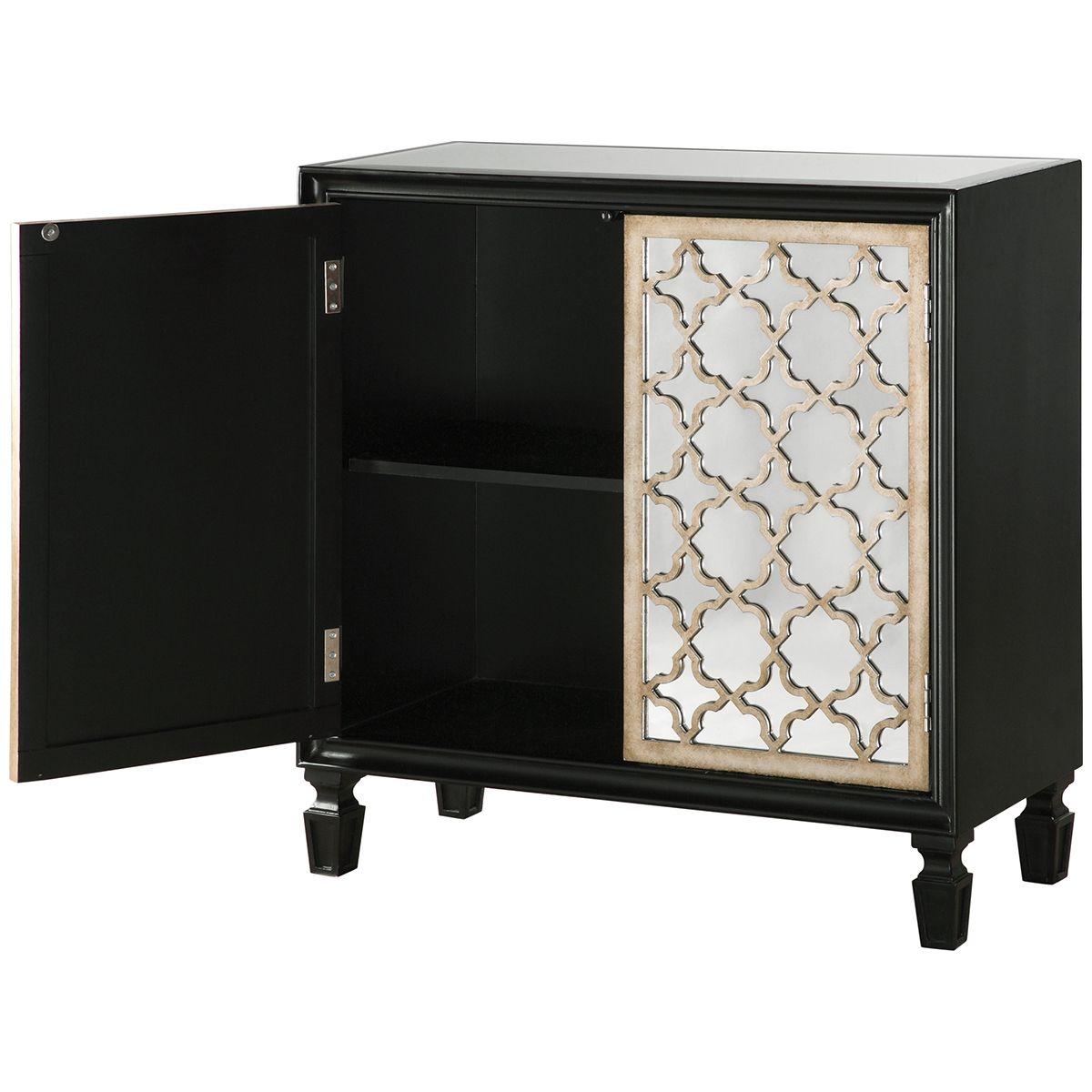 Uttermost Franzea Black Silver Console Cabinet 24498