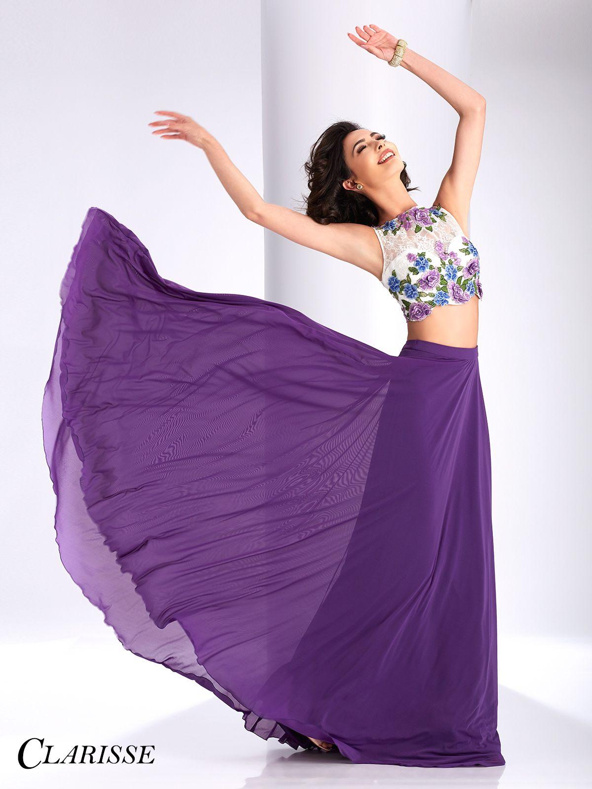 Clarisse Lace Floral Two Piece Prom Dress 3037 | Elegante y Vestiditos