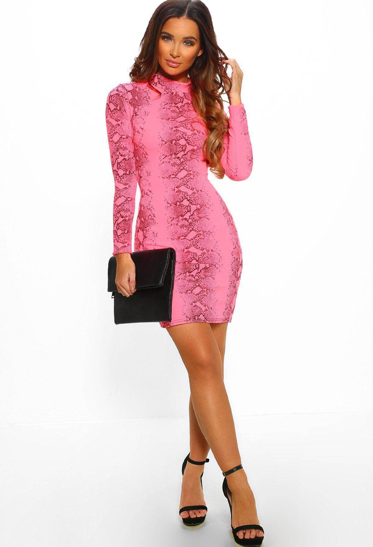 Say No More Neon Pink Snake Print Long Sleeve Mini Dress Mini Dress Long Sleeve Mini Dress Neon Dresses