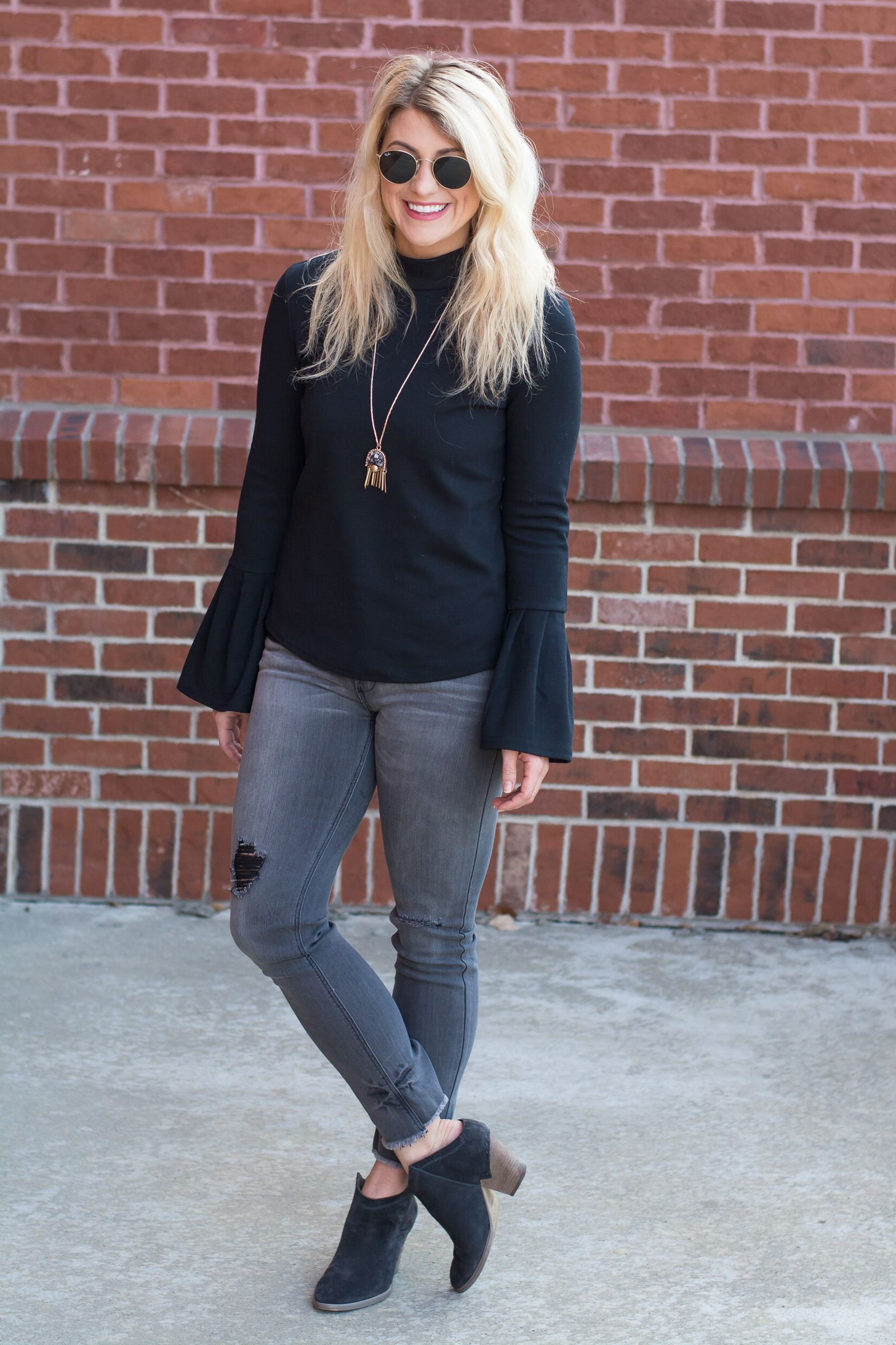 5cd899b7ba Black Bell Sleeves with Gray Denim