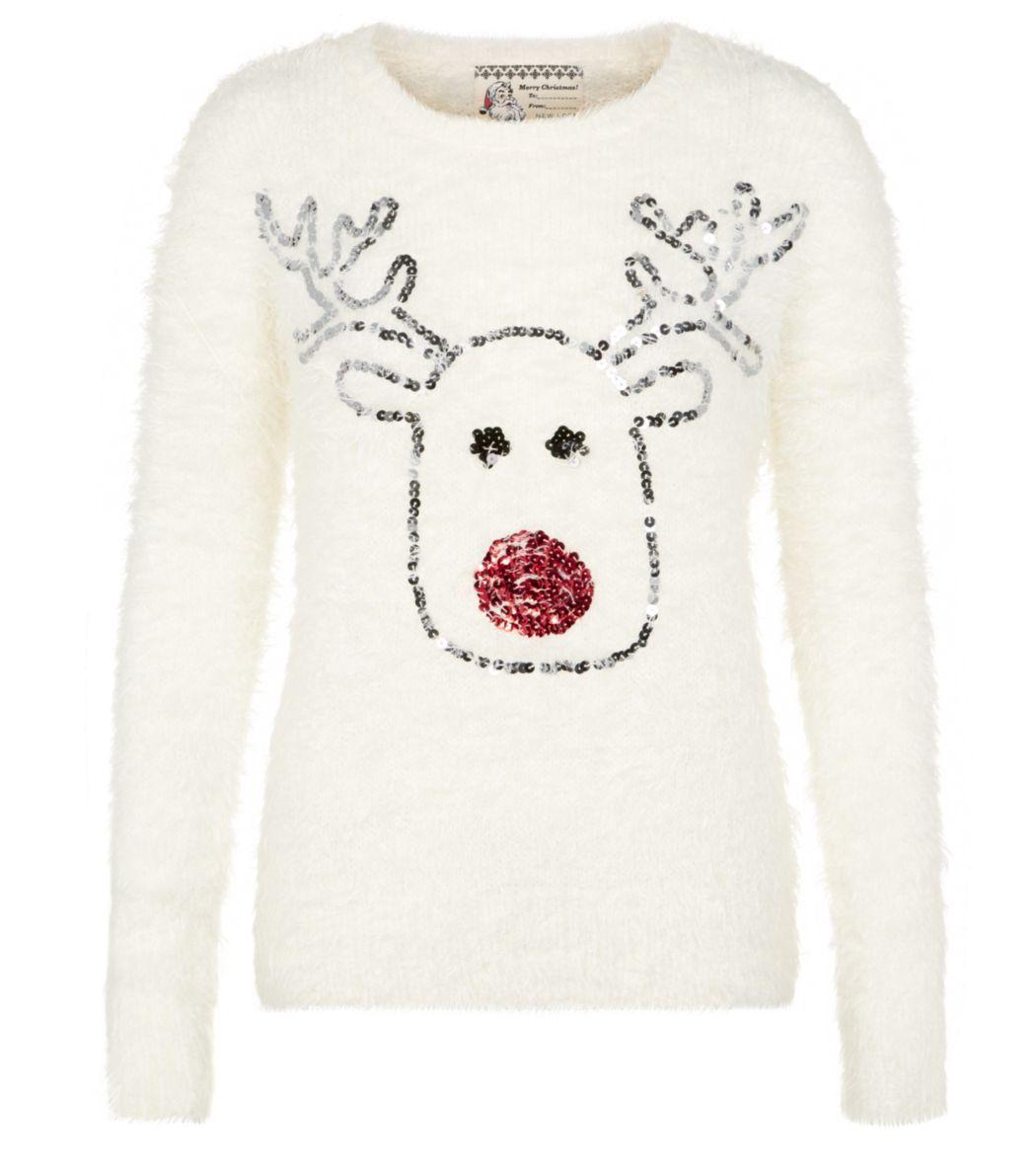 Cream reindeer sequin nose fluffy christmas jumper new look xmas