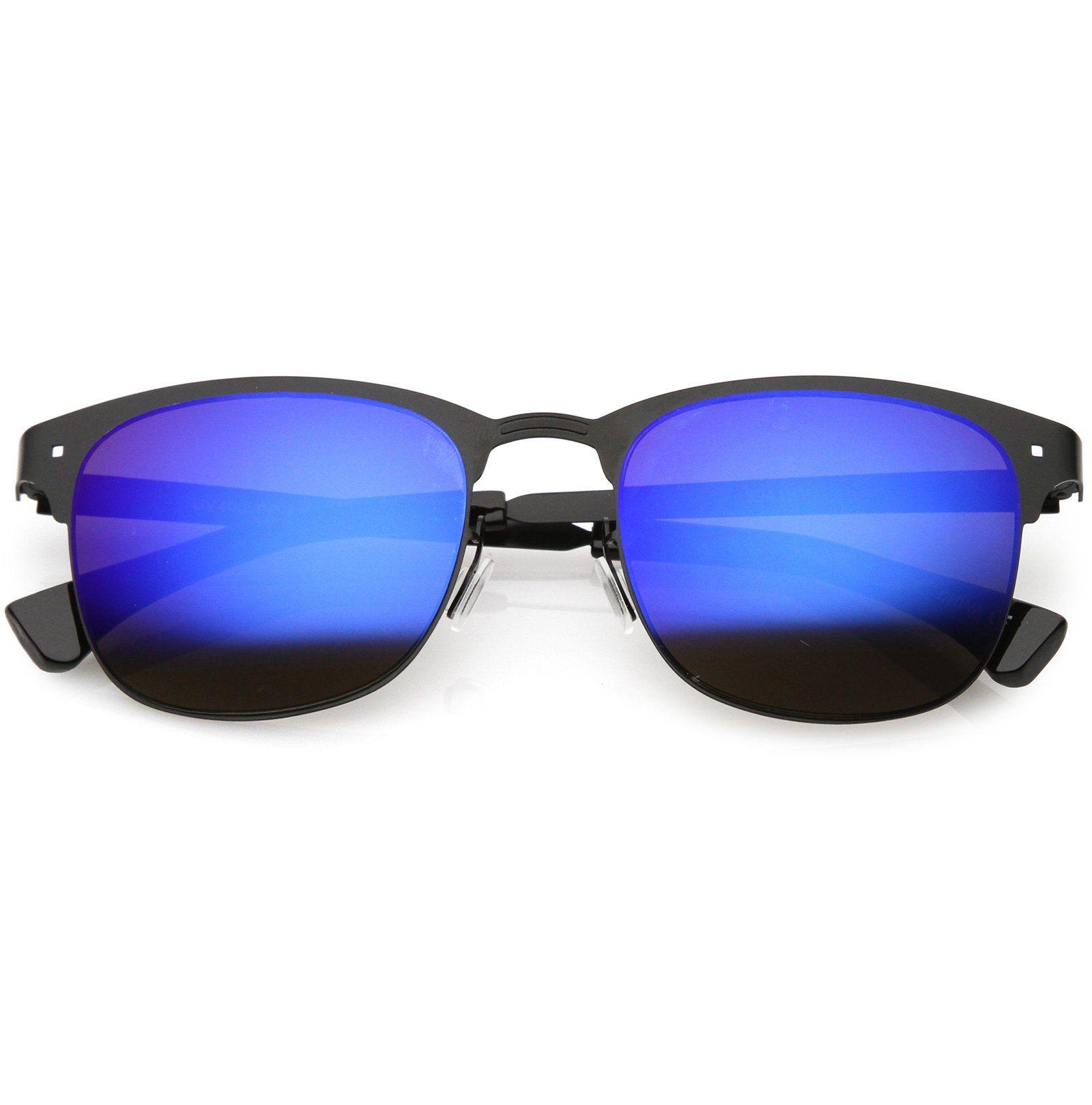 Sleek Metal Horn Rimmed Sunglasses Semi Rimless Color