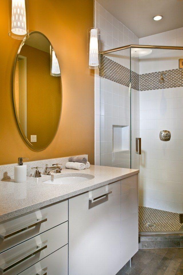 Wandfarbe Gold, Wohnungseinrichtung, Badezimmer, Farben, Modernes, Bad  Fliesen Designs, Fliesen Badezimmer, Badezimmerideen, Zeitgenössische  Badezimmer, ...