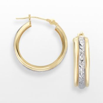 Everlasting Gold 10k Gold Two Tone Textured Hoop Earrings May Is