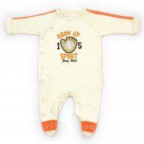 Macacão Bebê Grow Up Longo Algodão Egípcio Sport Creme  47e686e53be