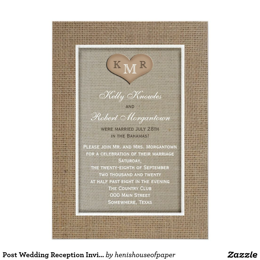 Post Wedding Reception Invitation Burlap 5 X 7 Invitation Card