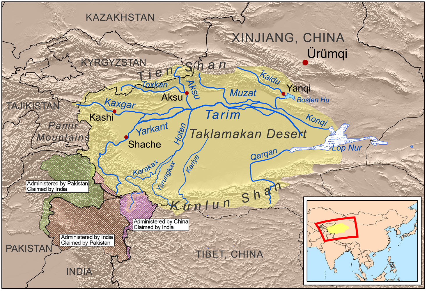This is a map of the tarim river drainage basin note that river map of the tarim river drainage basin note that river courses shown crossing the taklamakan desert are usually dry gumiabroncs Images