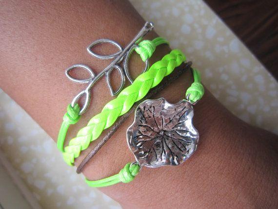 Combined Bracelet /Leaf Bracelet / Silver Bracelet by Especially2U, $5.99
