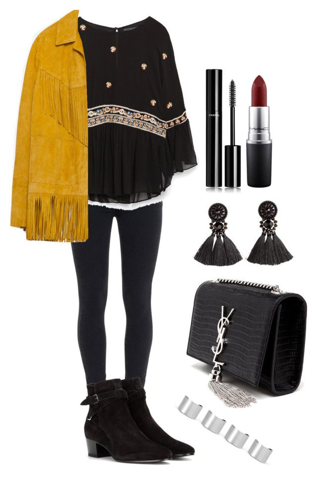 """""""Senza titolo #1617"""" by monsteryay ❤ liked on Polyvore featuring Paige Denim, Zara, Yves Saint Laurent, H&M, Maison Margiela, Chanel and MAC Cosmetics"""