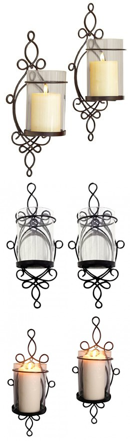 Raphael Rozen Modern Glass Sconce Set: 2 Piece Wall Mounted Decorative Candle Holder Set: Clear Glass Holders