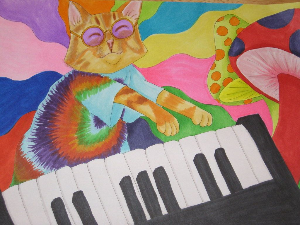 Keyboard Cat, Psychadelic by *Red1332