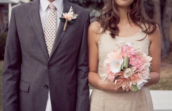 From herbs and broaches to paper flowers, unique ways to go flower-free for your wedding day! | via The Styled Bride