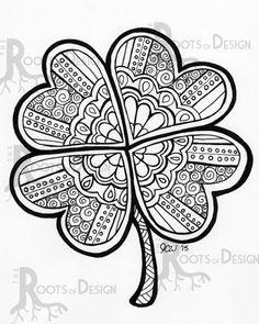 Instant Download Coloring Page Four Leaf Clover Shamrock Print Zentangle Inspired Doodle Art Printable In 2021 Coloring Pages St Patrick Doodle Art Designs