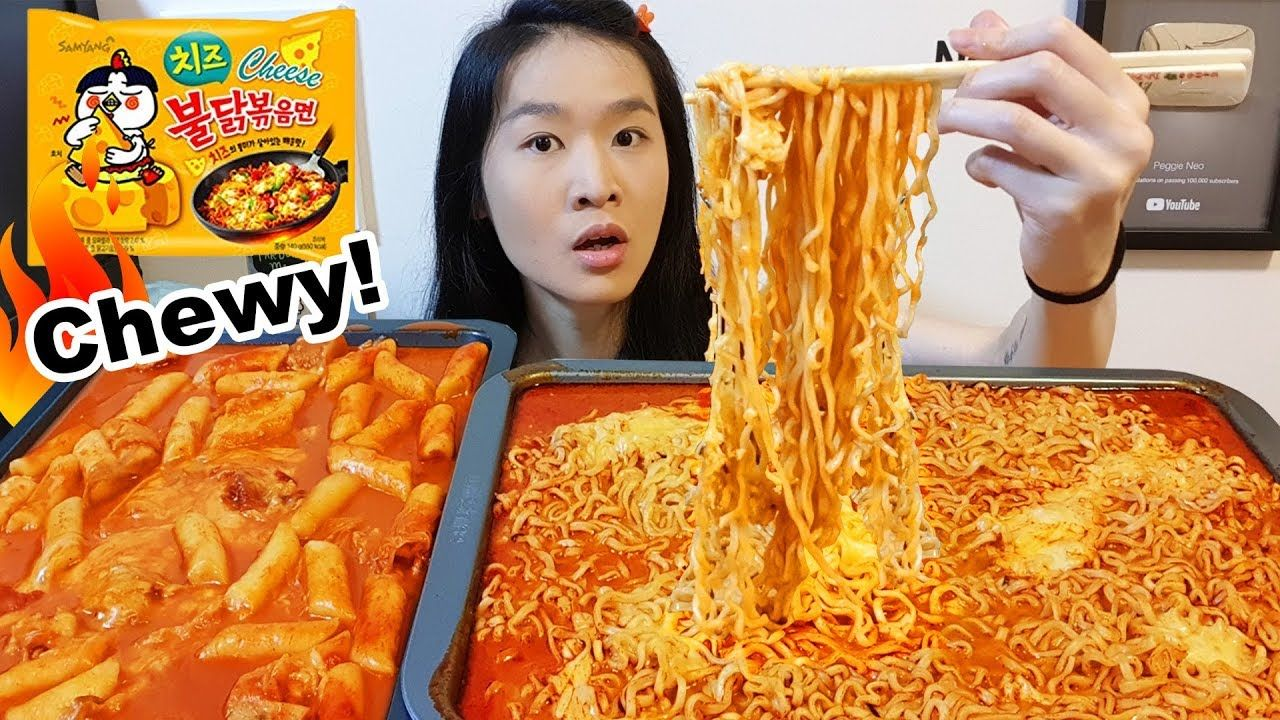 Spicy Rice Cakes Cheesy Fire Noodles Korean Ramen Eating