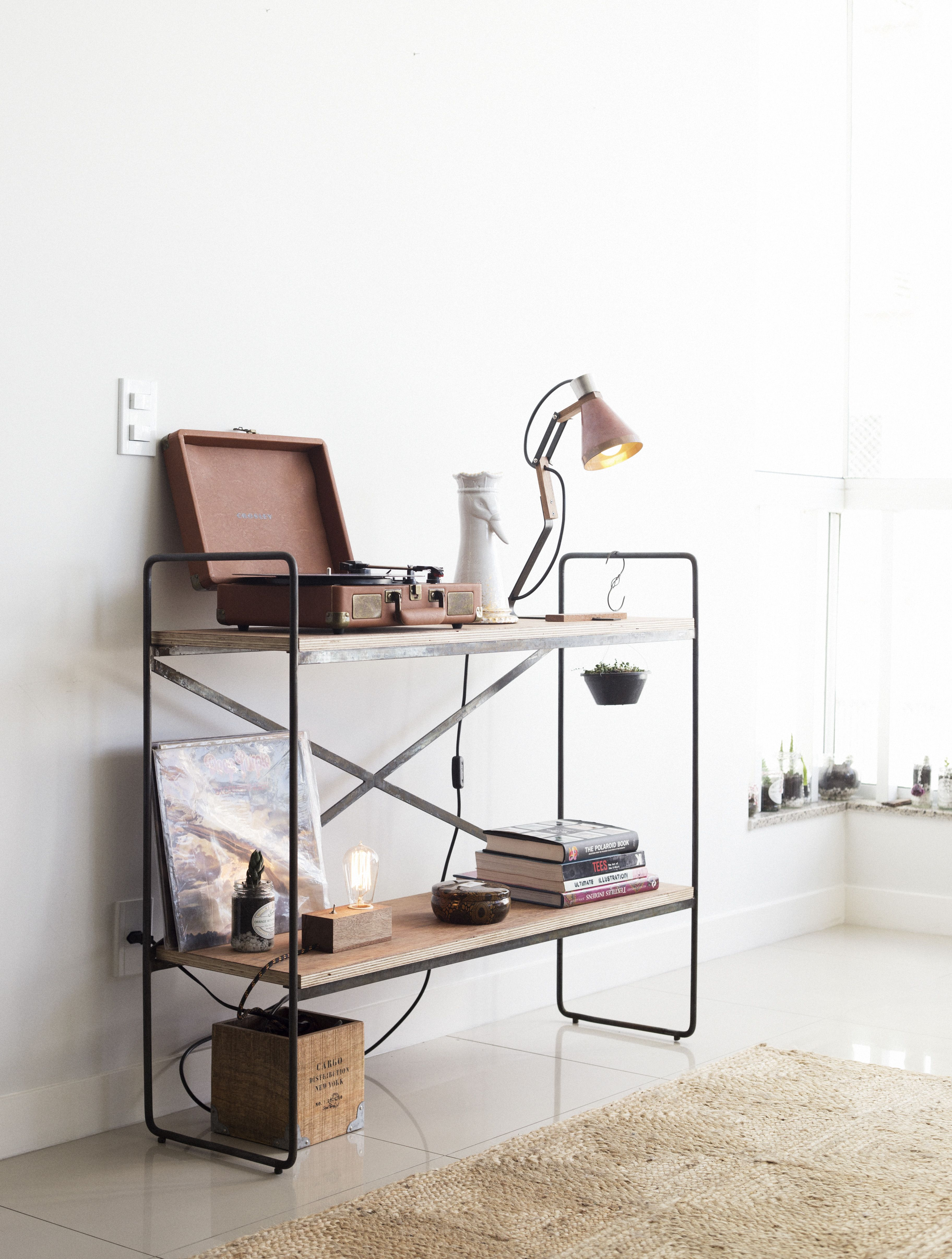 raw steel and plywood shelving unit by t44creative.com
