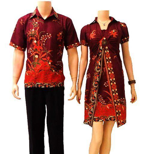 Batik Keris Warna Merah: Dress Batik Couple Modern Merah Hati