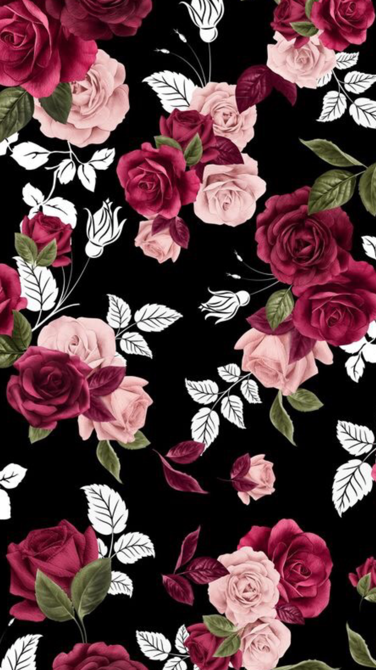 Iphone Backgrounds Florals Flowers Black And Pink Vintage