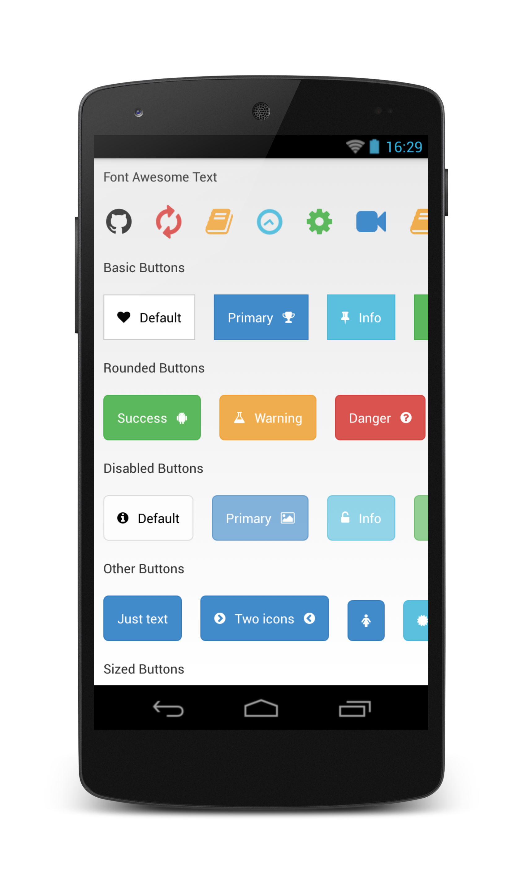 a brand new shiny bootstrap to style your android apps made by bearded hen features bootstrap buttons as per bootstrap rounded buttons disabled buttons