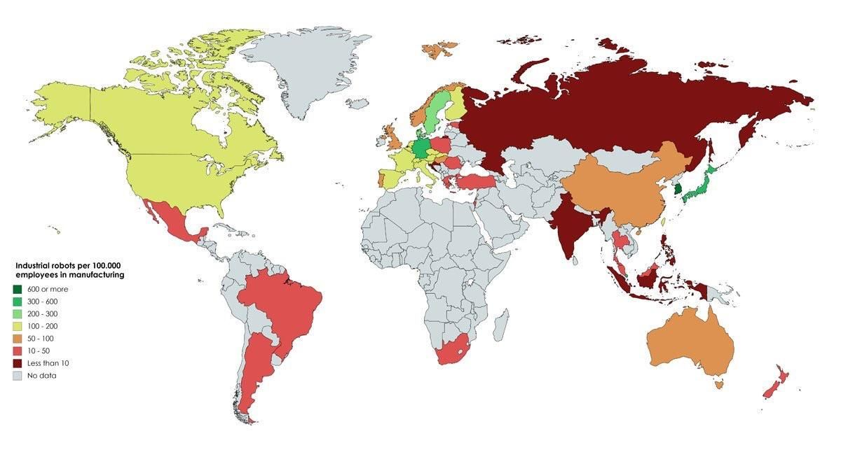 Industrial Robots Per 100 000 Employees In Manufacturing World