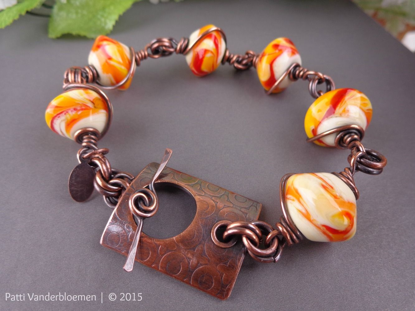 Fire - Artisan Glass and Solid Copper Bracelet   Handcrafted Jewelry by Patti Vanderbloemen