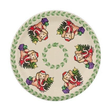 Festive Vintage Cartoon Elephants Merry Christmas Paper Plate - decor gifts diy home u0026 living cyo  sc 1 st  Pinterest & Festive Vintage Cartoon Elephants Merry Christmas Paper Plate ...