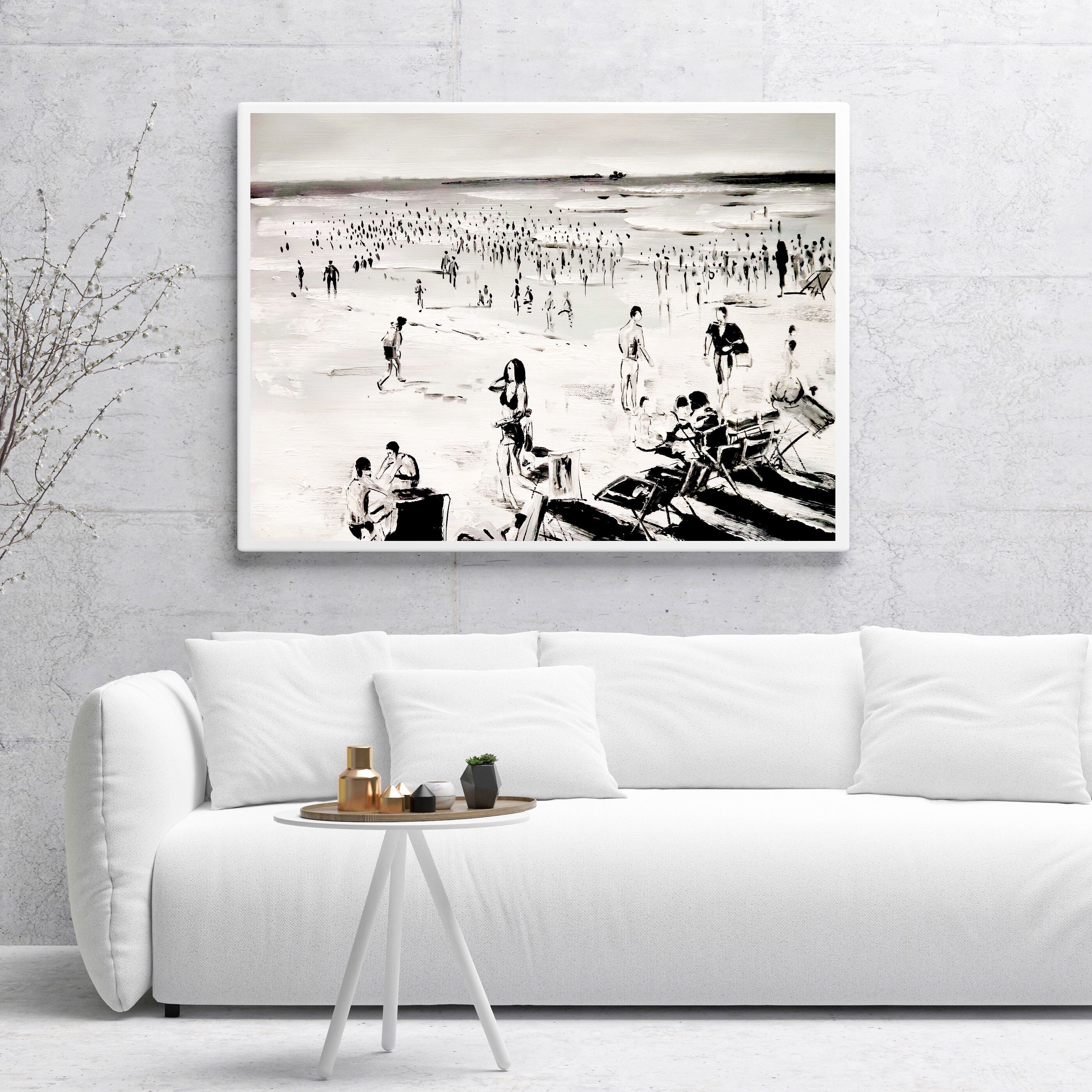 47 Large Original Black And White Beach Scene Painting People