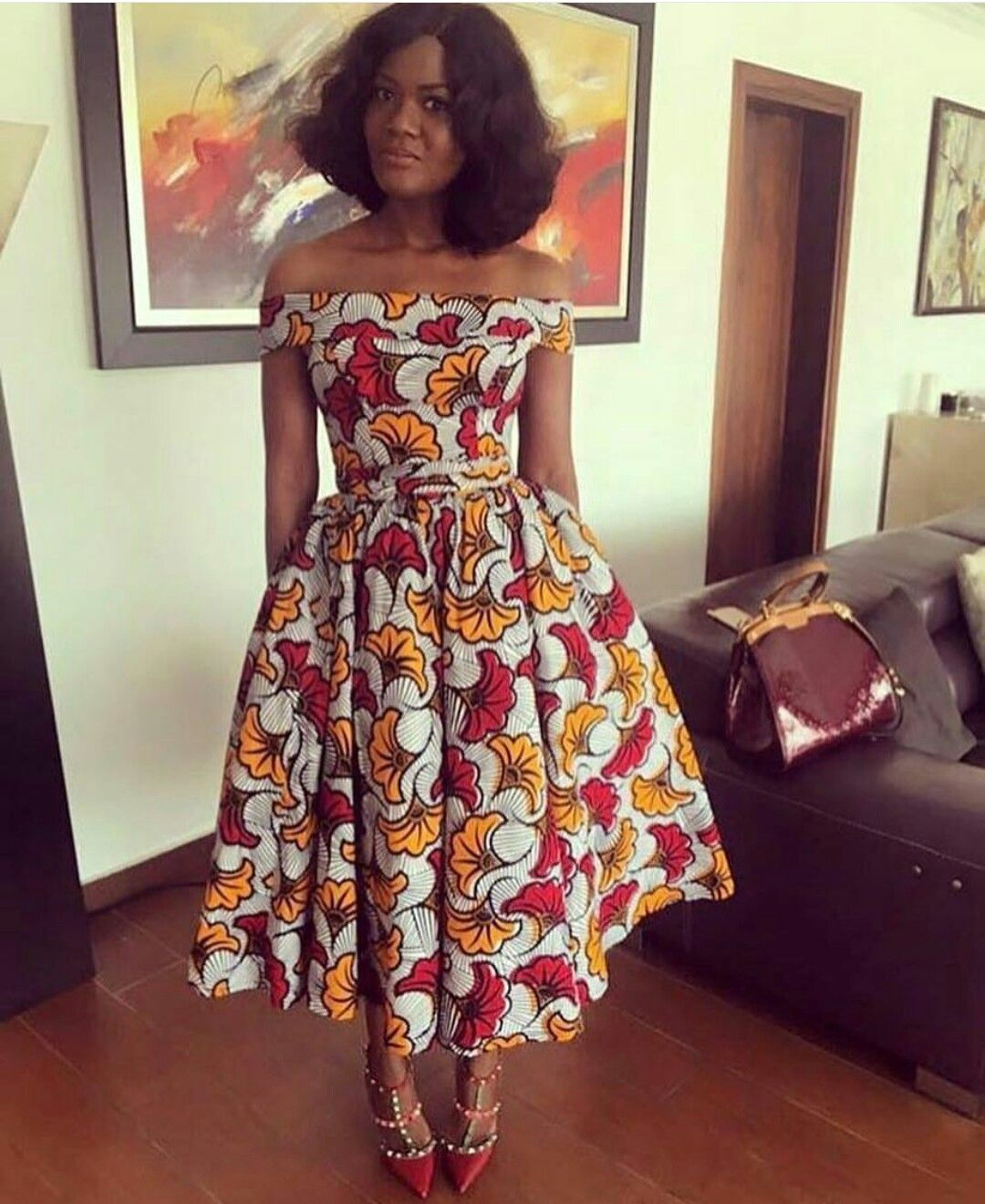 9d509a509a7f64 Off shoulders flared chitenge dress. Kanyget fashions+. Off shoulders  flared chitenge dress. Kanyget fashions+ African Ankara ...