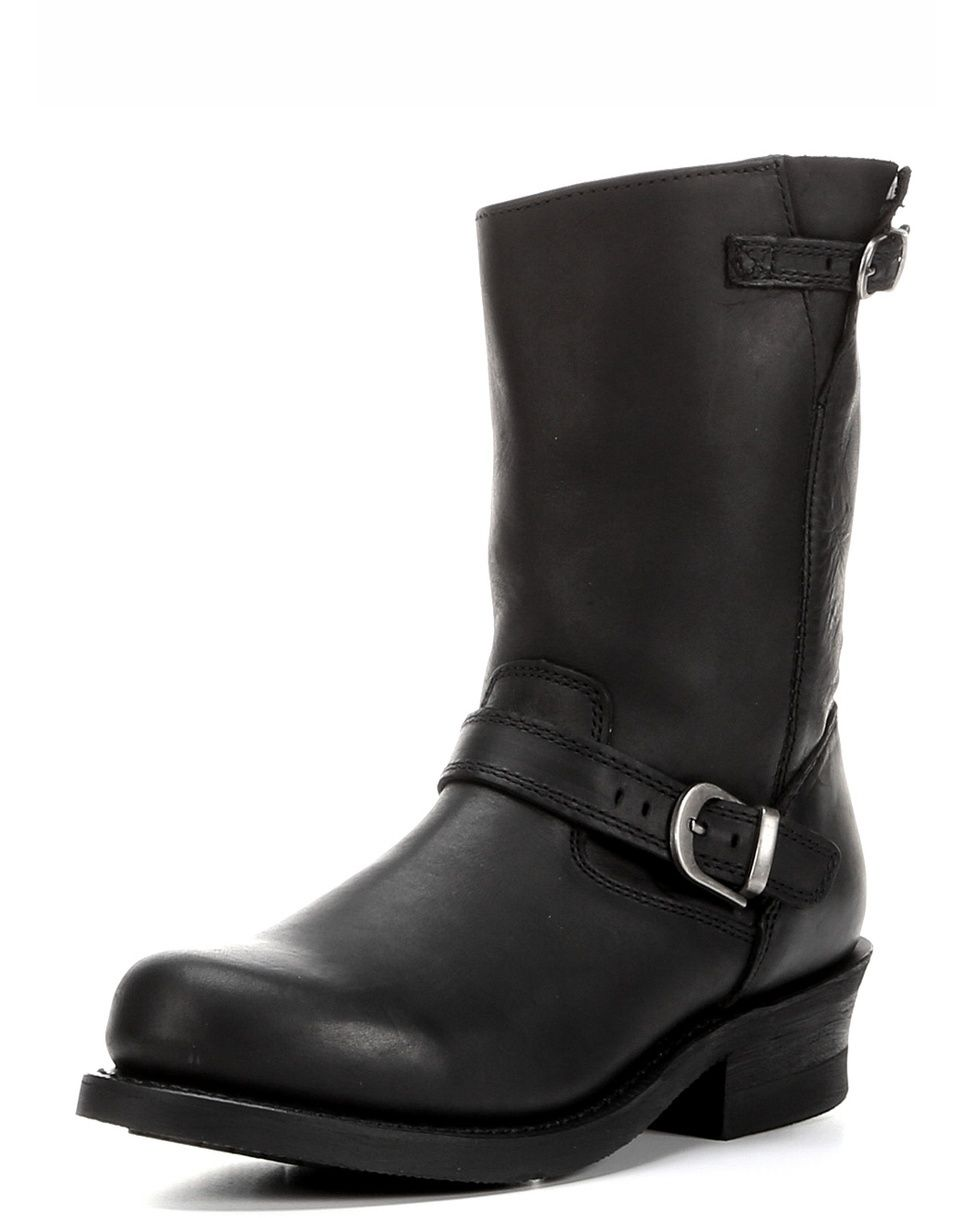 <p>Step out in stylish comfort in this classic American silhouette. Durango City Women's SoHo Black Engineer Boots are both sophisticated and tough. Whether you're looking for great motorcycle boots or just like the look, these engineer boots will do the trick.</p><p>Made of full-grain leather, these women's boots have an ankle strap with an antiqued silver buckle. These details are repeated in smaller form at the top of the boot shaft. At nine inches, this is a good mid-calf boot with a 1…