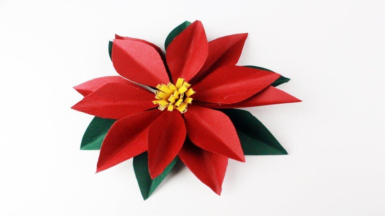 Como hacer una flor de nochebuena de papel paso a paso for Adornos navidenos origami paso a paso