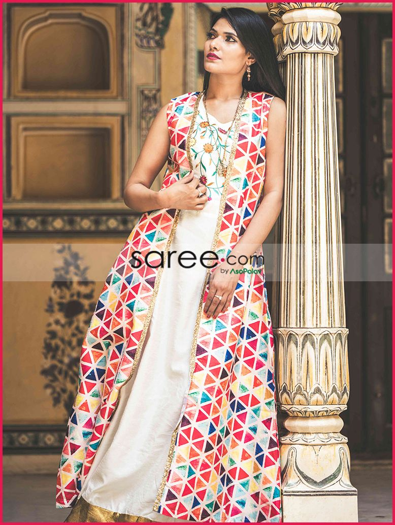 0949f9f00282 Cream and Multi Color Cotton Silk Kurti with Triangle Printed Long Jacket