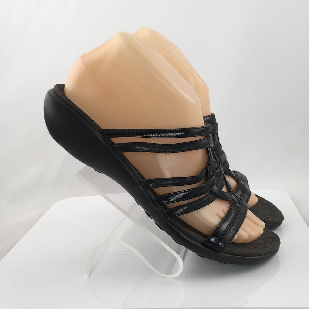 f19649cef919 Privo by Clarks Womens Slide Sandals Black leather Strappy Size 9M casual  work  PrivobyClarks  Slides  Casual