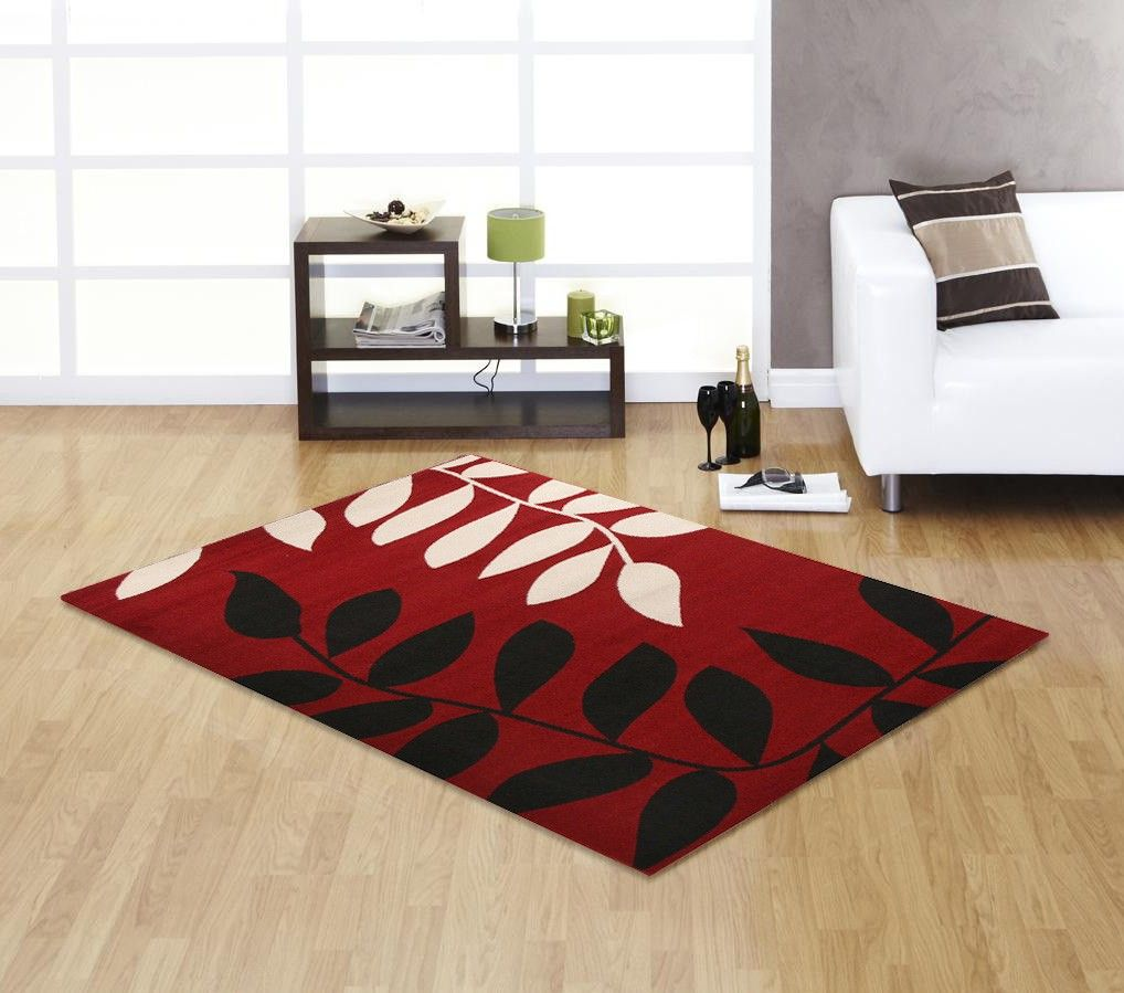 Maple Collection Designer Rug Red Cream And Black 230 X 160cm Milan Direct