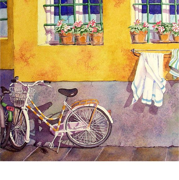 Bicycle Art Bike Art Watercolor Print Road Trip Watercolor Painting ...