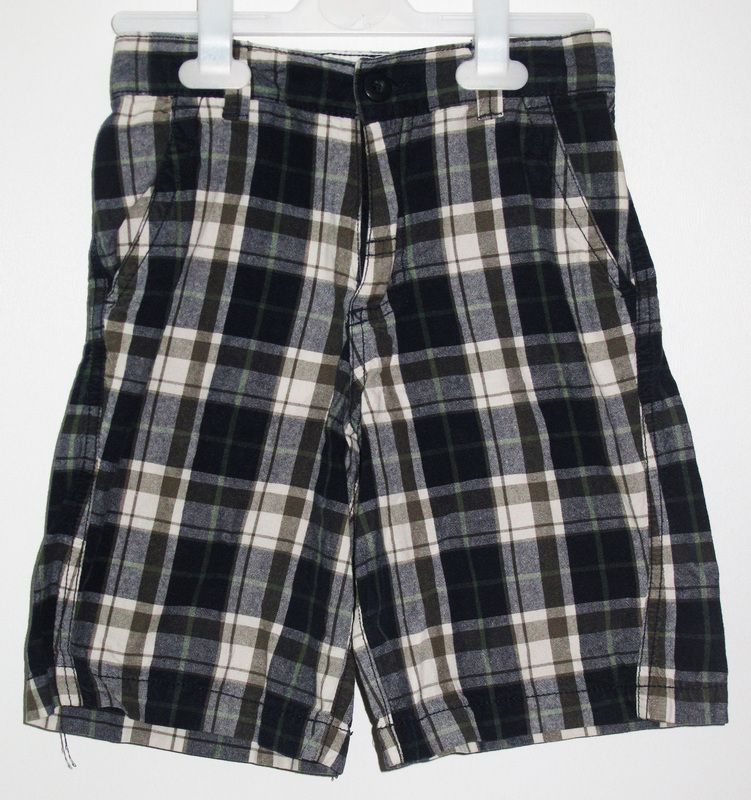 - Faded Glory navy and olive plaid shorts - size 8 - 100 % cotton - 12 NIS www.clothingcloset.co.il