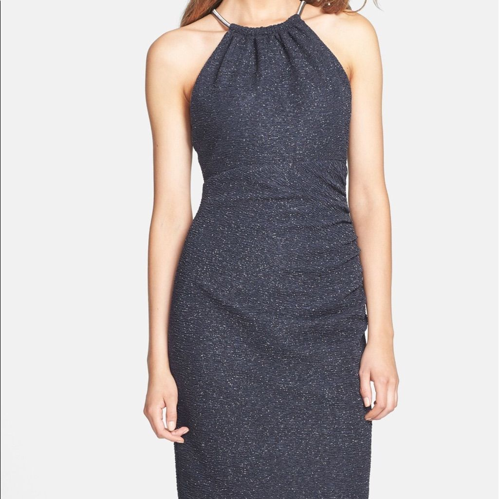 Eliza J Shimmer Steel Blue Dress
