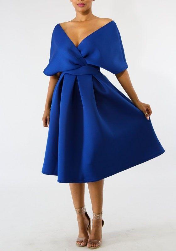 Mi Longue Robe Patineuse Plisse V Cou Manches Courtes Mode Elegant De Soiree Bleu Roi Robe Mi Longue Robes Mode Elegante Robe Longue Chic Robe Patineuse