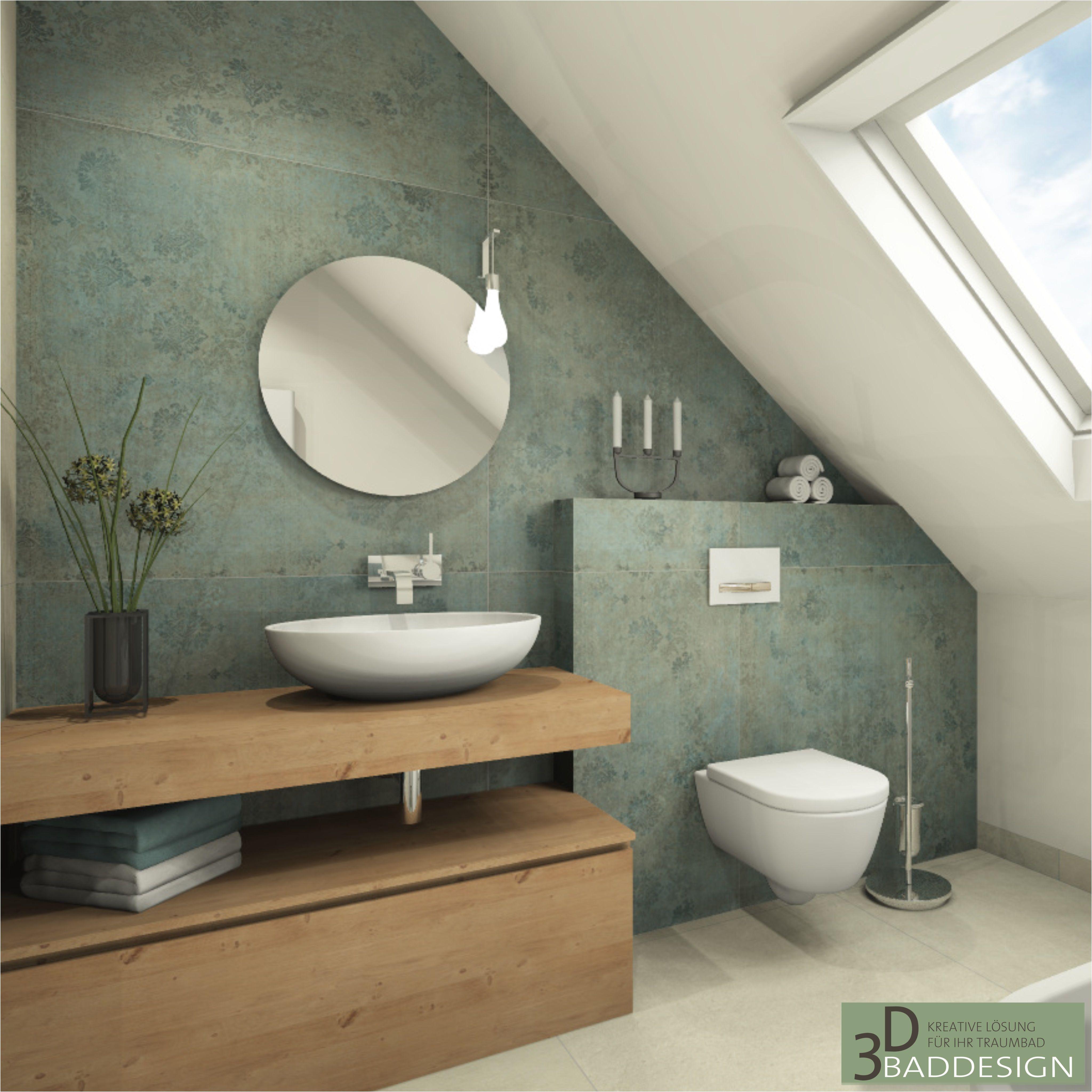Bad mit Dachschräge Bad Trend 20 Dekorfliesen in grün petrol ...