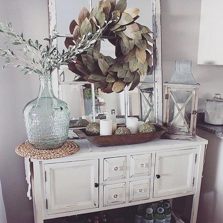 Wreath Goals In 2020 Farmhouse Decor Living Room Buffet Decor