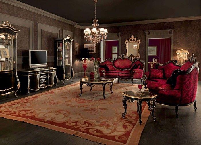 Wohnzimmer wohnbeispiele ~ Wohnideen wohnzimmer dunkle wandgestaltung und rote akzente