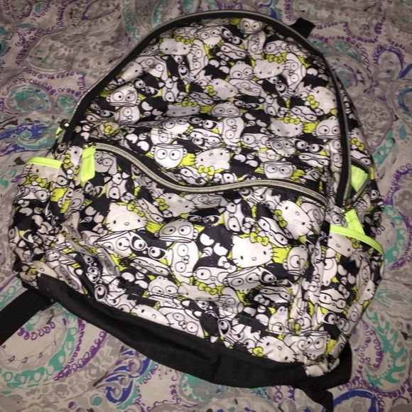 Hello Kitty Backpack Lime Green B&W Hello Kitty Backpack Hello Kitty Accessories
