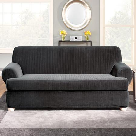 White Leather Sofa Surefit Stretch Pinstripe T Cushion Sofa Slipcover Black