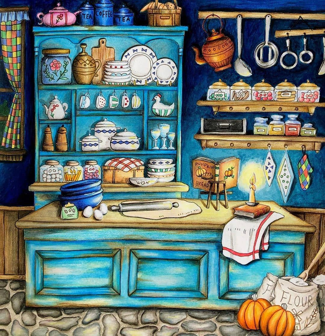 191 Likes 7 Comments Friends Who Colour Fwhocolour On Instagram Loving This Wonderful Page The Aged Painted Romantic Country Coloring Books Painting