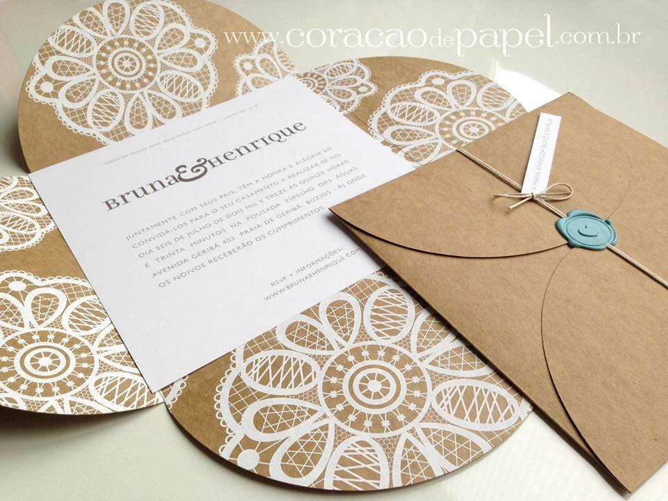 Convite rústico com craft by Coração de Papel