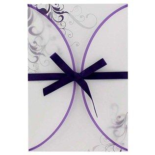 His Hers Purple Swirl Vellum Jacket Wedding Invitations